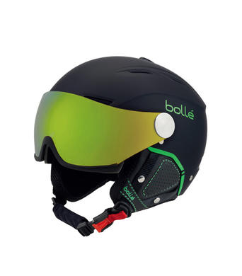 Lyzarska helma se stitem Bolle Backline Visor Premium Soft Black Green.jpg