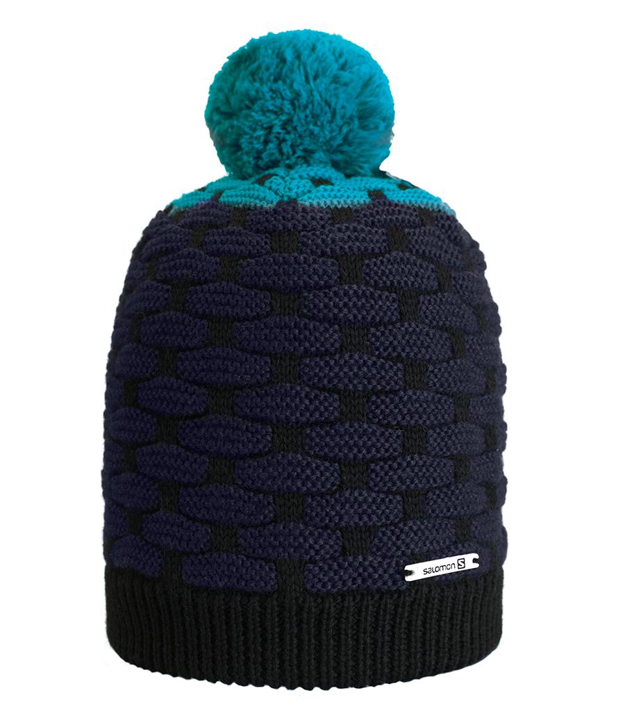 Pánská zimní čepice Salomon Poly Black Water Blue 48ccf0700c