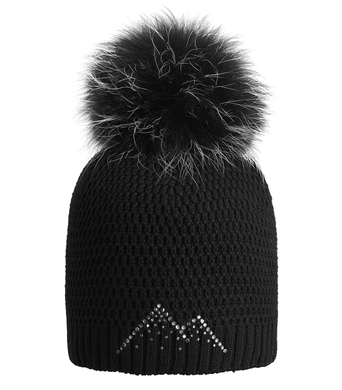 4521b430820 Dámská zimní čepice Winter Diamonds černá bez lemu černo bílá bambule