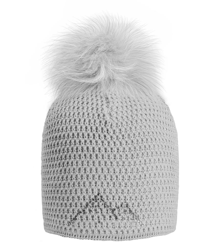 162e99f45 Dámska zimná čiapka Winter Diamond sivá bez lemu sivá brmbolce ...